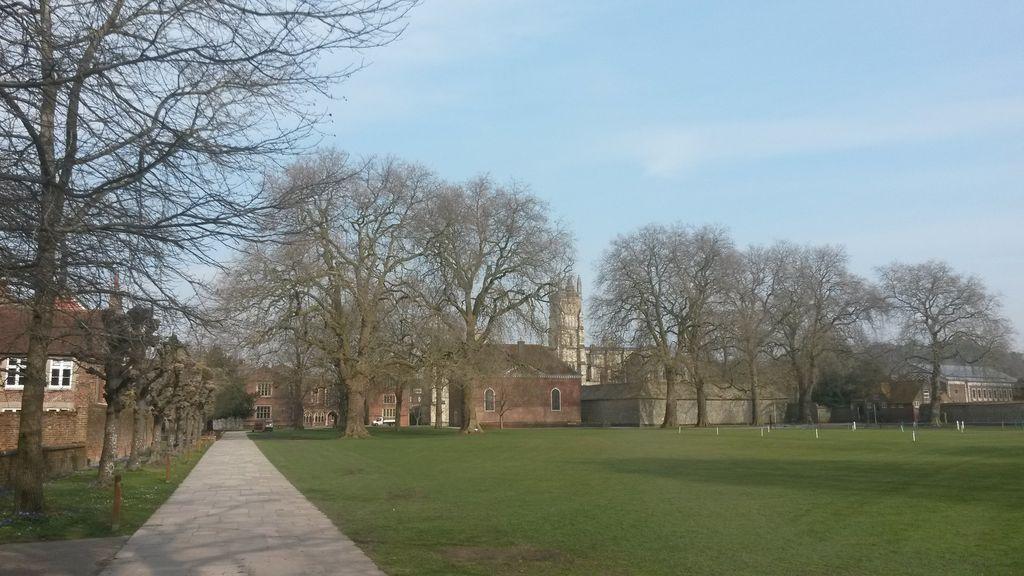 Meads, za stromy je vidět kaple a další budovy školy